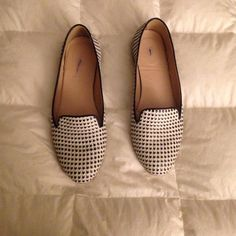 J crew leather loafers Black and white leather loafers, made in Italy, worn few times, size 9.5 (I wear a 9 and it was fine) J. Crew Shoes Flats & Loafers