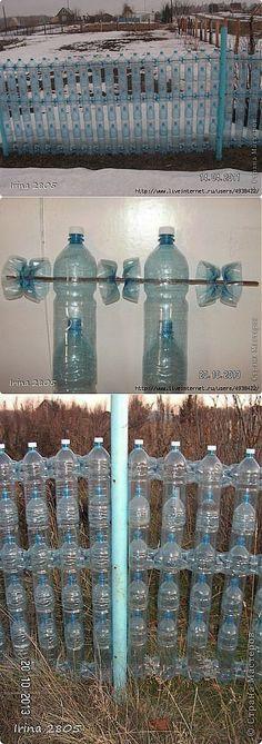 Забор из пластиковых бутылок.Мастер-класс.