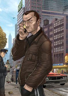 GTA IV: Man on a Mission by PatrickBrown.deviantart.com Grand Theft Auto 4, Grand Theft Auto Series, Patrick Brown, Cartoon Video Games, Indie, Fanart, Rockstar Games, San Andreas, Video Game Art