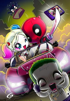 Funny as hell Harley Quinn/DeadPool mash up. Art by Dreamgate-Gad . Cute Deadpool, Deadpool Art, Deadpool Kawaii, Deadpool Chibi, Deadpool Wallpaper, Marvel Wallpaper, Cute Disney Wallpaper, Cute Cartoon Wallpapers, Cute Disney Drawings