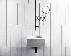 Fontane Bianche es una serie de lavabos, pavimentos y revestimientos de piedra, griferías y espejos que surge de la colaboración entre Salvatori y Fantini