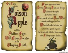 Disney inspired poison apple two page layout Free printables available to make your own Disney Inspired spell book. Perfect for any Halloween display, you'll be under the Disney spell too! Disney Halloween, Halloween Spell Book, Halloween Potions, Cute Halloween, Halloween Crafts, Halloween Decorations, Halloween Ideas, Halloween Apothecary, Halloween 2018