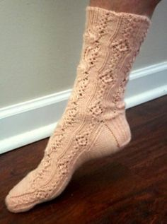 Cuarzo Rosa Socks Knitting pattern by Terry Morris Knitting Machine Patterns, Knitting Charts, Lace Knitting, Knitting Socks, Burgundy Skater Skirt, Slipper Socks, Slippers, Lace Socks, Mittens Pattern