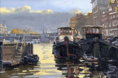 Titus Meeuws impressionist - Twee boten bij de Hoge Sluis, Amsterdam. Olie op paneel. 35 x 50 cm