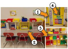 Teaching With Love and Laughter: Classroom Photos 2013 Classroom Setting, Classroom Setup, Classroom Design, Future Classroom, Kindergarten Centers, Kindergarten Classroom, Classroom Organisation, Organization, Classroom Management Strategies