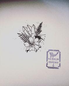 Tropical Flower Tattoo Design    From Blue Whale Ink Design by _park_tae_  Work In Korea, Seoul, Hongdae Kakao: taemin0509 Insta: _park_tae_ Email: hopetaemin@naver.com Phone: 010.9922.2511