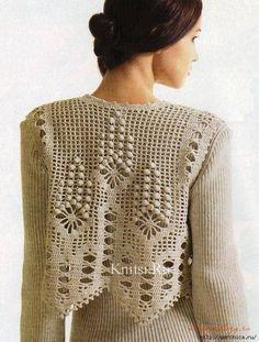 ao with / crochet vest Filet Crochet, T-shirt Au Crochet, Cardigan Au Crochet, Crochet Capas, Pull Crochet, Crochet Shirt, Crochet Jacket, Crochet Diagram, Crochet Woman