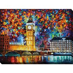 Picture Perfect International Leonid Afremov 'Big Ben (370 NZD) ❤ liked on Polyvore featuring home, home decor, wall art, blue, london wall art, blue screen, blue home decor, big ben clock and blue wall art
