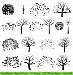 Tree Silhouettes Clipart Clip Art Family Tree by PinkPueblo