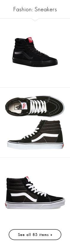 """Fashion: Sneakers"" by katiasitems on Polyvore featuring shoes, sneakers, vans, black, black sneakers, suede skate shoes, black suede sneakers, vans shoes, vans sneakers and tenis"
