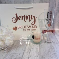 Bridal Party Wedding Personalised Gift Bag Champagne Glass and Candle, Bridesmaid, Maid of Honour, bridal party gifts