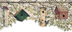 Country Birdhouse with Crackle Background Laser Cut Wallpaper Border 227B22545