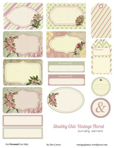 Free Vintage journal notes with a rose theme.and labels. - Free Vintage journal notes with a rose theme.and labels. Vintage Glam, Vintage Tags, Vintage Labels, Vintage Ephemera, Vintage Floral, Floral Printables, Printable Labels, Printable Paper, Free Printables