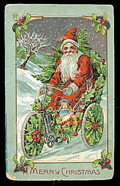 Santa Claus Riding Bicycle of Holly 1908 Postcard. Click the image for more information.