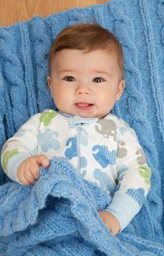 Strickmuster für Baby-Zopfdecke