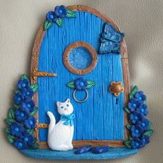 Turquoise Blue Fairy Door with White Cat | Flickr - Photo Sharing!