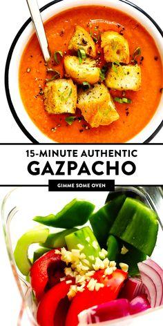 Authentic Gazpacho Recipe, The Best Gazpacho Recipe, Healthy Gazpacho Recipe, Healthy Recipes, Salad Recipes, Vegetarian Recipes, Cooking Recipes, Sandwich Recipes, Bon Appetit