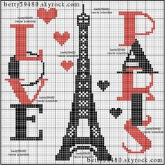 France Eiffel Tower cross stitch.