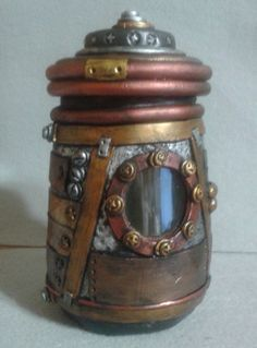 Steampunk stash jar, industrial look polymer clay over glass container - pinned by pin4etsy.com