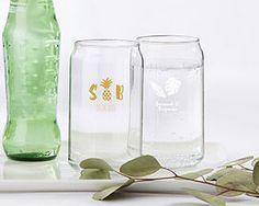 PERSONALIZED 16 OZ. CAN GLASS – PINEAPPLES AND PALMS