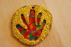 Salt-Dough sun catchers | Let cool completely. Using a paint brush spread glue all over the salt ...