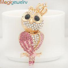 Unique Crown Crystal owl Key chains Ring Fashion Rhinestone Animal Zinc Alloy Keychain Keyring For Women Charms Pendant Jewelry