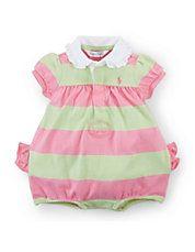 Baby Girls Striped Shortalls