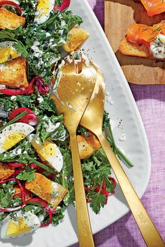 Kale Salad with Buttermilk Dressing and Pickled Onions - Quick & Delicious Summer Salad Recipes - Southern Living Shrimp Salad Recipes, Kale Salad Recipes, Summer Salad Recipes, Summer Salads, Buttermilk Dressing, Pickled Onions, Easy Salads, Fruit Salads, Onion Recipes