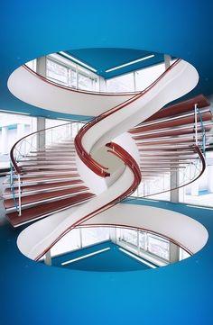 l'emphase est mise sur la forme non conventionnel de l'escalier..