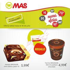 Un helado con regalo: por la compra de un helado MAGNUM mini (pack-10), en Supermercados MAS te regalamos una tarrina MAGNUM! Con la Tarjeta Club MAS, qué vivan las tardes de verano