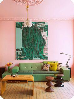 zacht roze muur