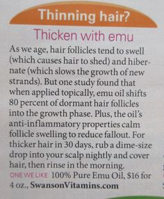 Thicken hair with emu oil http://www.hairgrowinggenius.com/