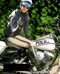 Abusing his authority and needs to be taught a lesson. Biker Leather, Leather Boots, Mens Riding Boots, Harley Boots, Sexy Military Men, Police, Bobber Bikes, Hot Cops, Men In Uniform