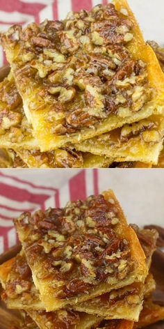 These Pecan Pie Bars are so easy to make and the perfect make ahead for a party or the holidays. These Pecan Pie Bars are so easy to make and the perfect make ahead for a party or the holidays. Pecan Desserts, Pecan Recipes, Easy Desserts, Sweet Recipes, Baking Recipes, Delicious Desserts, Yummy Food, Pie Recipes, Best Pecan Pie Recipe