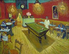 Vincent van Gogh: The Night Cafe in the Place Lamartine in Arles, 1888. Watercolor. Painted while living in Arles (part of the time with Paul Gauguin. Bern, collection of Dr. Hans R. Hahnloser.