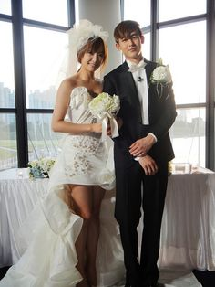 Latest Kpop galleries on Soompi. Soompi is your best source for all things Kpop. Cute Wedding Dress, Wedding Shoot, Perfect Wedding, One Shoulder Wedding Dress, Wedding Dresses, Wedding Ideas, We Got Married Couples, We Get Married, Wgm Couples