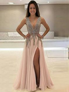 2bf1fed93b4 A-Line Deep V-Neck Sweep Train Sleeveless Pink Tulle Prom Dress with Beading