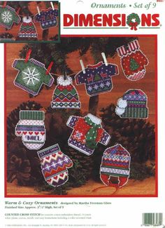 Warm & Cosy Ornaments, plastic canvas, cover page, page 1/5