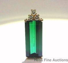 Huge Green Tourmaline approx. 10.05ct Ultra Fine Diamond Long 14K Gold Pendant