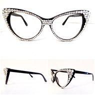 2505d9c3bf8 Optical CRYSTAL Cat Eye Glasses - Clear on Black Frame Fashion Eye Glasses