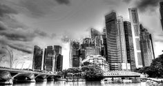 """""""City and Bridge Blackwhite  Cityscape Singapore"""" by William Yee Khai Teo, Singapore // City and Bridge Black/white - Cityscape Singapore 2013 // Imagekind.com -- Buy stunning fine art prints, framed prints and canvas prints directly from independent working artists and photographers."""