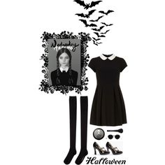 Wednesday Addams by bykatiegirl on Polyvore featuring mode, Dorothy Perkins, Hansel from Basel, Marc Jacobs, Acne Studios, MAC Cosmetics and diycostume