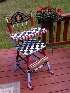 Hand Made Custom Hand Painted Wooden High Chair by Michele Sprague Designs