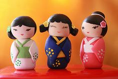 Polymer Clay Japanese Little Dolls (Miniclays) Tags: closeup miniature handmade craft mini polymerclay fimo sculpey japanesedolls kokeshi premo decoden