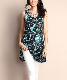 Reborn Collection Black Floral Empire-Waist Sleeveless Tunic Dress by Reborn Collection #zulily #zulilyfinds