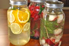 citrus, mint, and ginger; strawberry, cucumber, mint and sage; white peach and lemon verbena