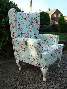 Shabby Chic Vintage Wingback Armchair in Gorgeous Floral Chintz