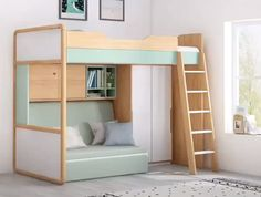 Raised beds bedroom - hochbeete schlafzimmer - chambre surélevée - dormitorio con … in 2020 (With images) Loft Beds For Small Rooms, Small Room Design Bedroom, Bed For Girls Room, Room Ideas Bedroom, Home Room Design, Tiny Bedrooms, Bedroom Ideas For Small Rooms Diy, Bedroom With Loft, Loft Bed With Couch