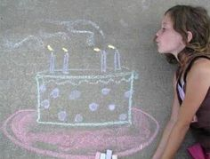 22 Totally Awesome Sidewalk Chalk Ideas - Birthday Cake Sidewalk Chalk Art