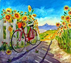 Red Bicycle and Sunflowers by Bruno Vallino Sunflowers And Daisies, Sunflower Pictures, Wine And Canvas, Happy Flowers, Sun Flowers, Italian Painters, Belleza Natural, Beautiful Paintings, Painting Inspiration